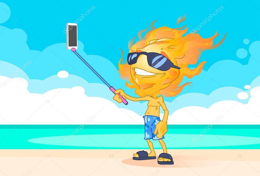 Sun Summer Boy Fire Head Taking Selfie Smart Phone Stick On Beach