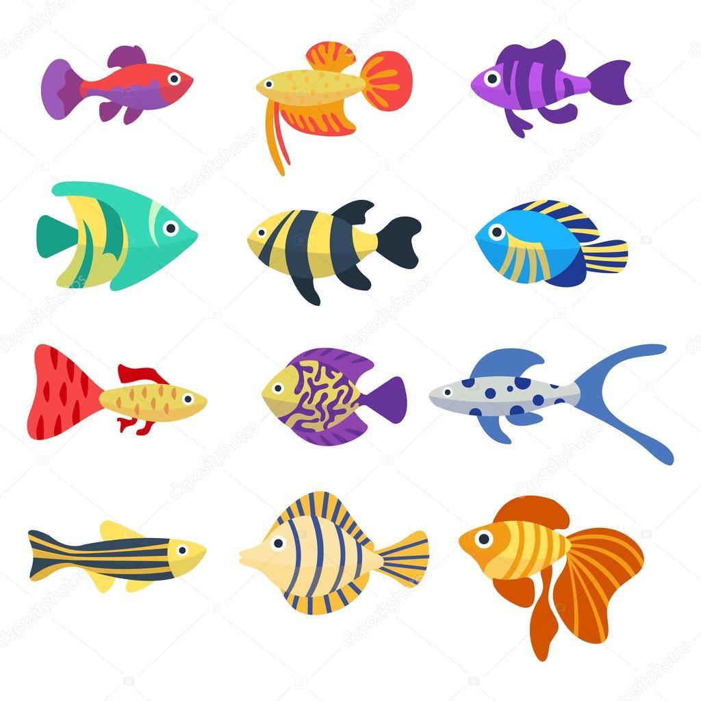 Ensemble des poissons d 39 aquarium couleurs des poissons - Poisson dessin couleur ...