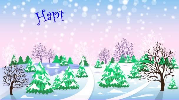 Zimní krajina. Sníh padá. Šťastný nový rok. Chlapec, sáňkování
