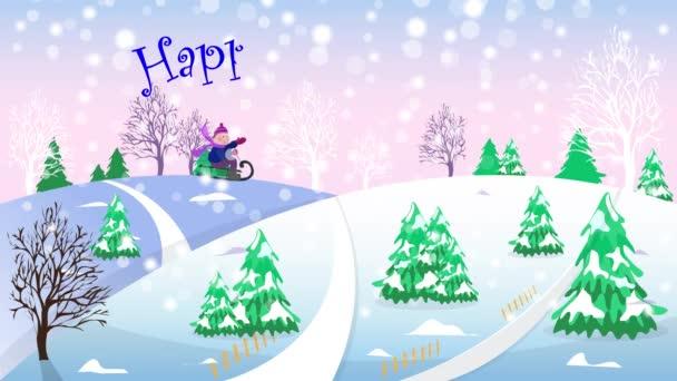Zimní krajina. Sníh padá. Šťastný nový rok