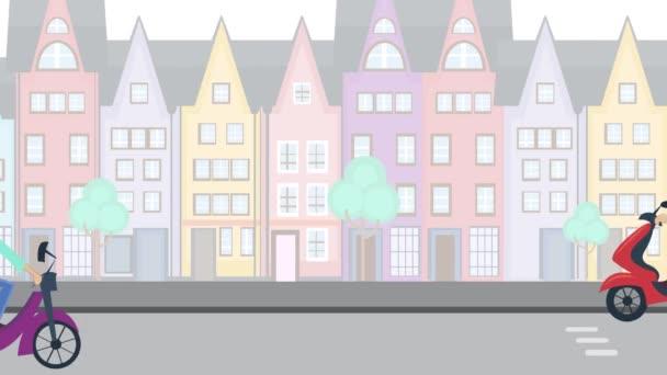 Kreslené chlapce s batohem a dívka s květinami v koši, jízda kole, koloběžka, motocykl na silnici. Letní den města