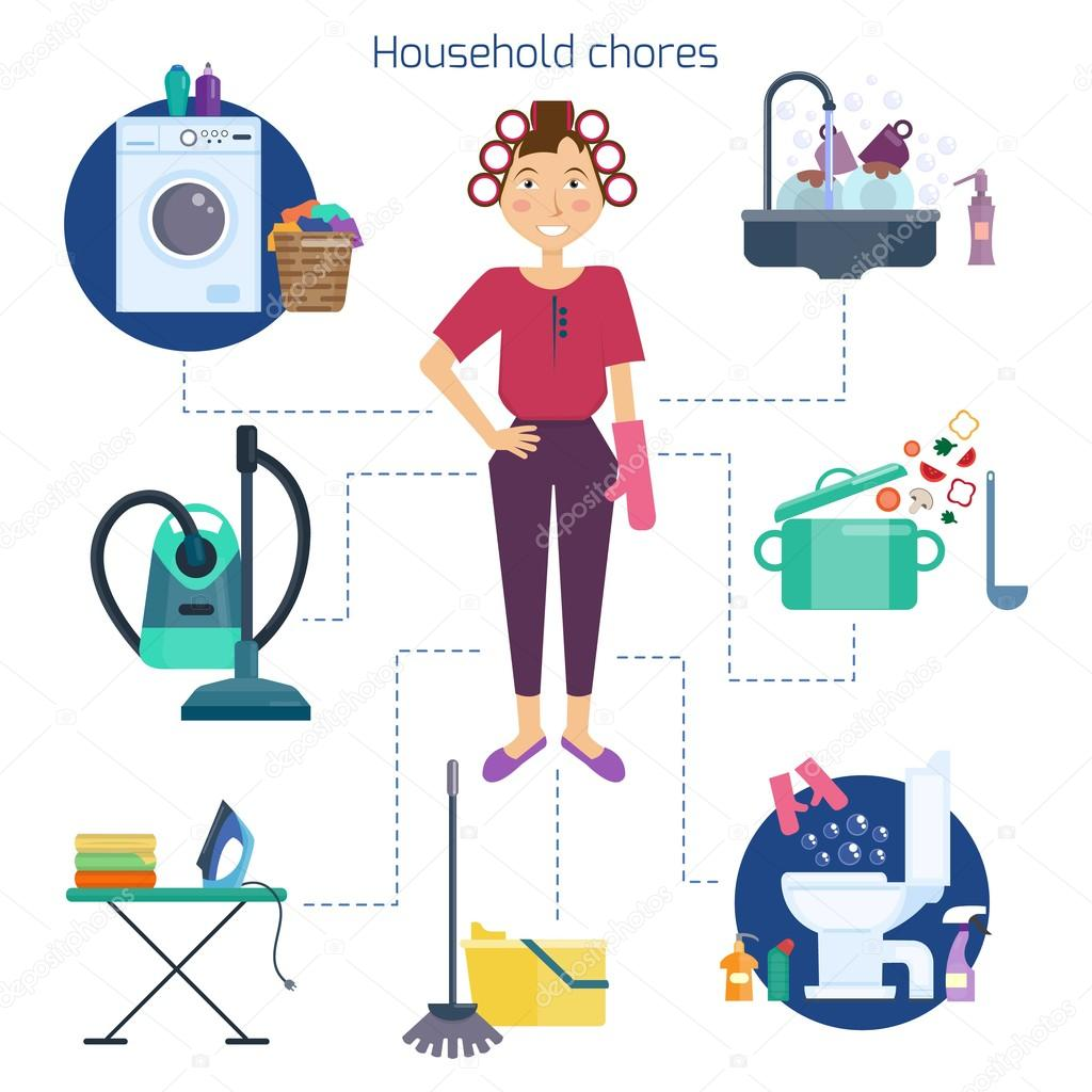 Casa de limpieza de ama de casa. Tareas de ama de casa y hogar ...