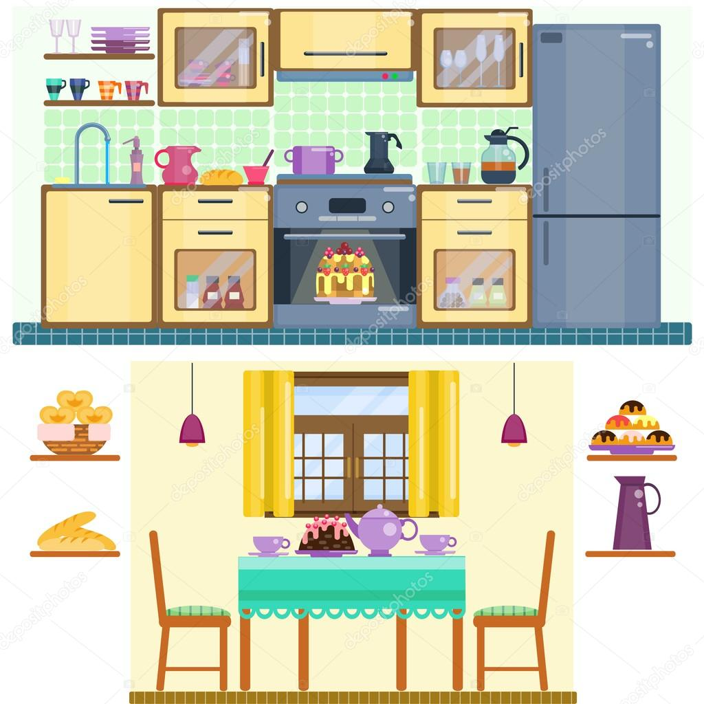 Set Of Kitchen And Dining Room Interior With Utensils Appliances Furniture Stock Vector