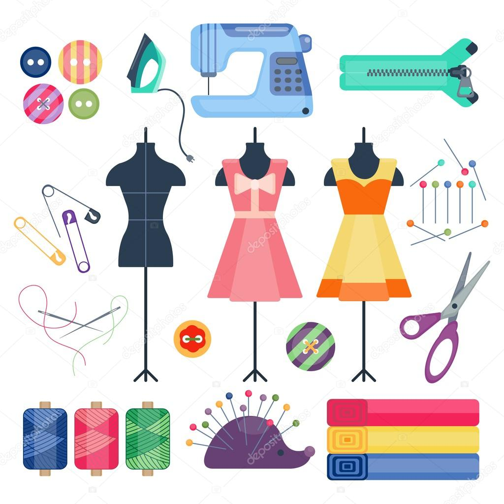 Set of sewing objects