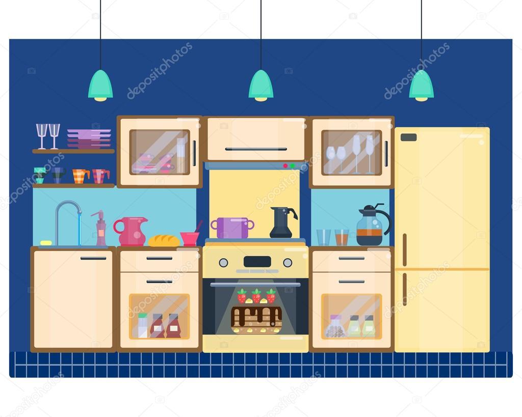 Interior del cuarto de cocina con utensilios for Muebles para electrodomesticos