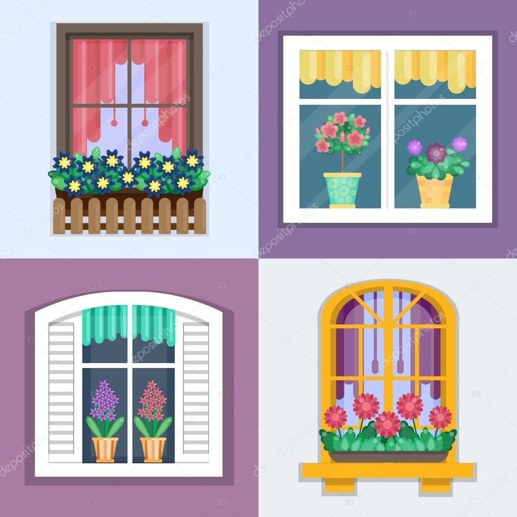 Vector illustration of windows set with plants in flower pots