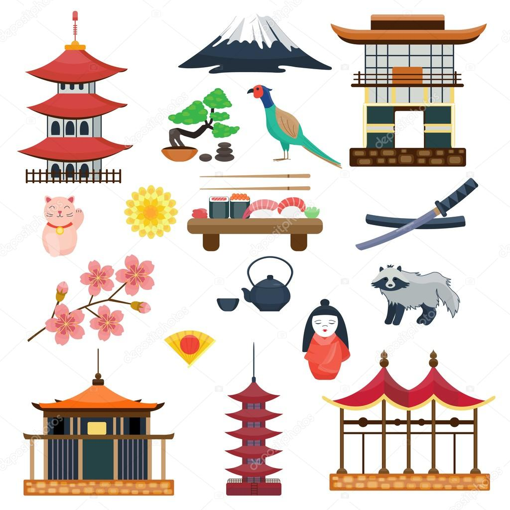 Where To Find House Plans Japan Vector Collection Japanese Traditional Symbols