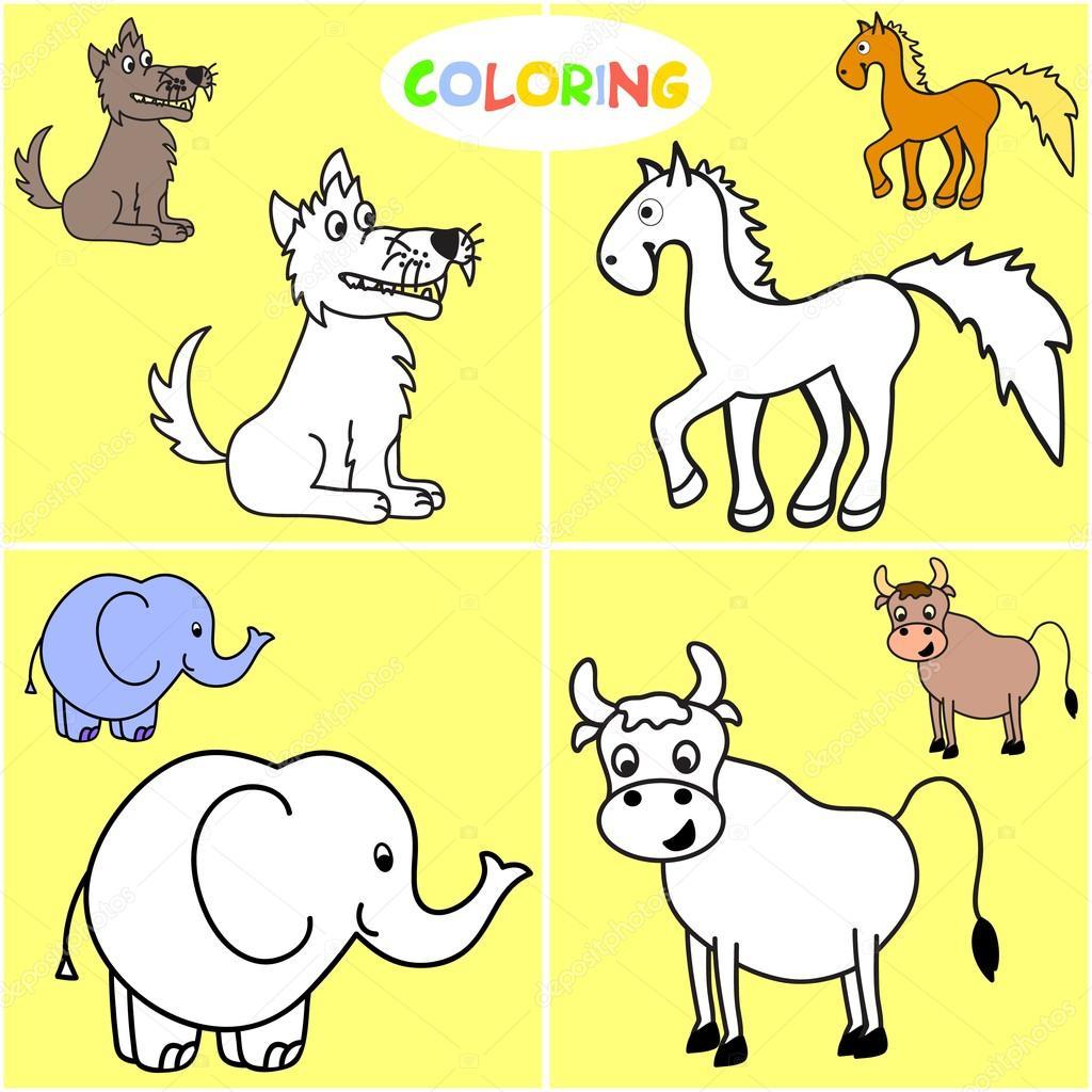Libro para colorear con animales de mamíferos — Archivo Imágenes ...