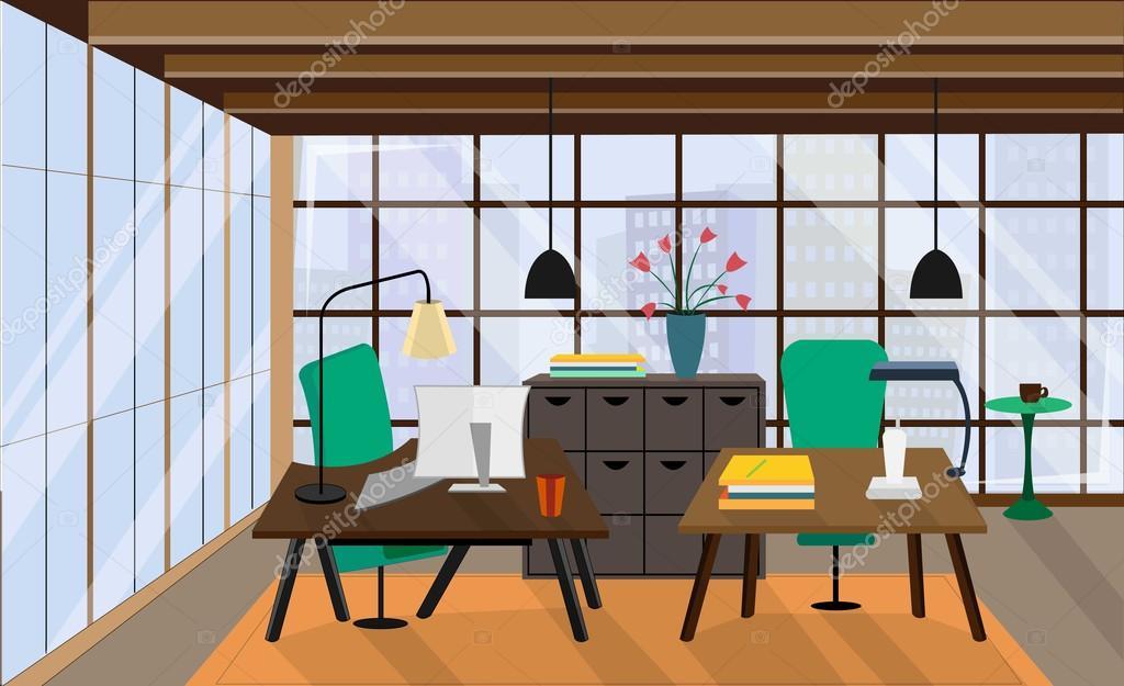 Sfondo Desktop Stanza Ufficio : Area di lavoro vuota con il desktop scaffale in ufficio moderno