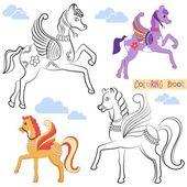 Omalovánky s dvěma krásný létající koně s barevnými křídly