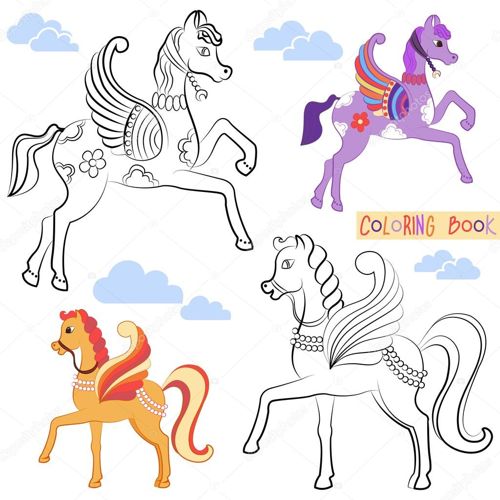 Coloring book with two beautiful flying horse with colored ...