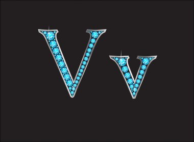 Vv Aquamarine Jeweled Font Jeweled Font with Silver Channels
