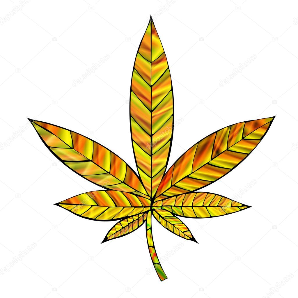 Gold Cannabis Leaf