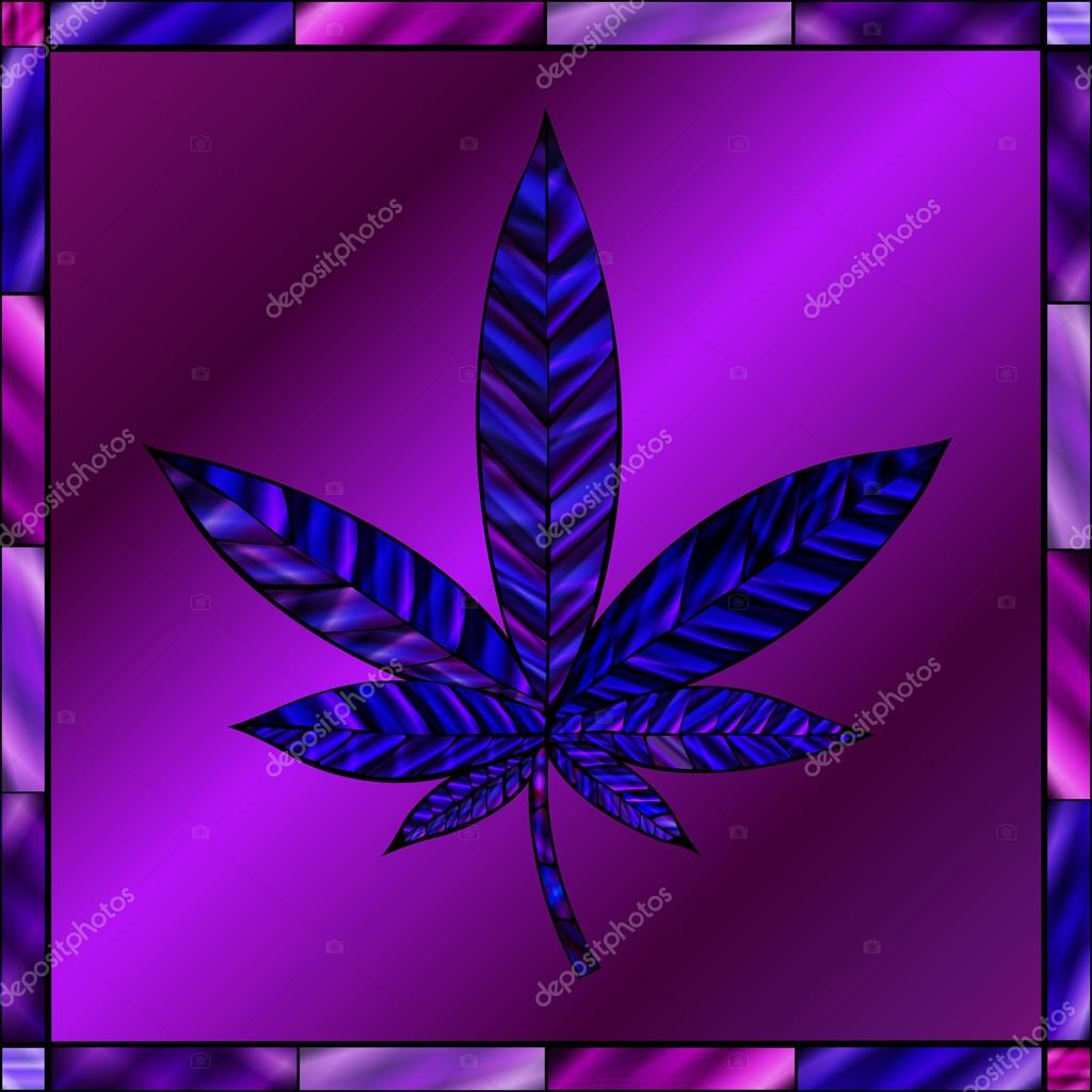 Purple Cannabis Leaf