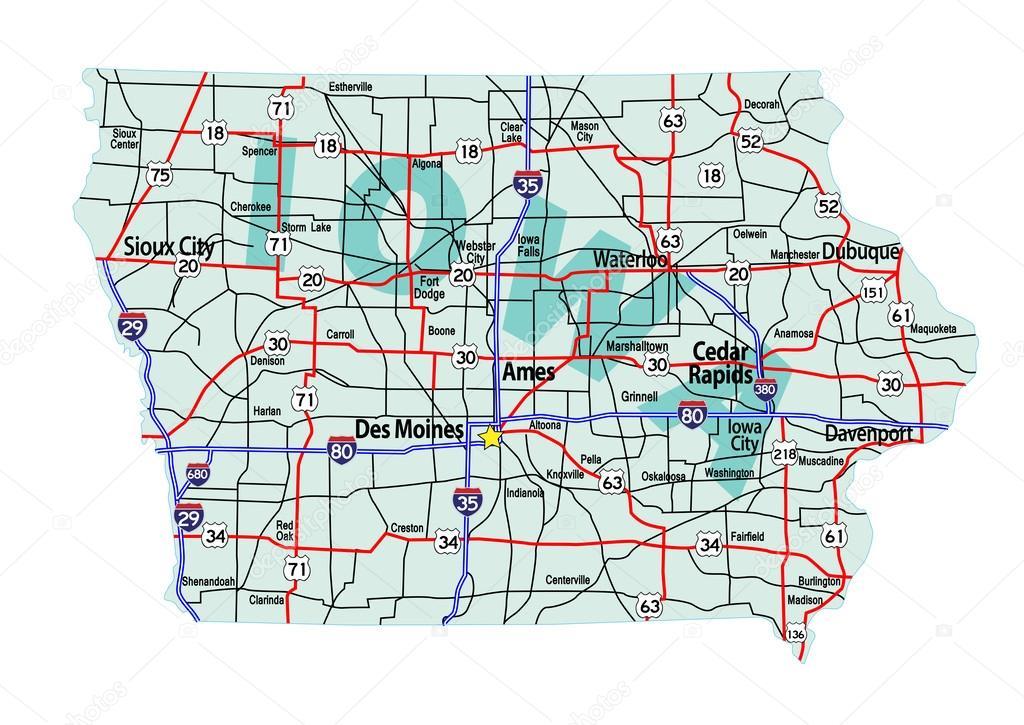 Iowa Interstate Highway Map Stock Vector C Suwanneeredhead 52253497 - Us-highway-71-map
