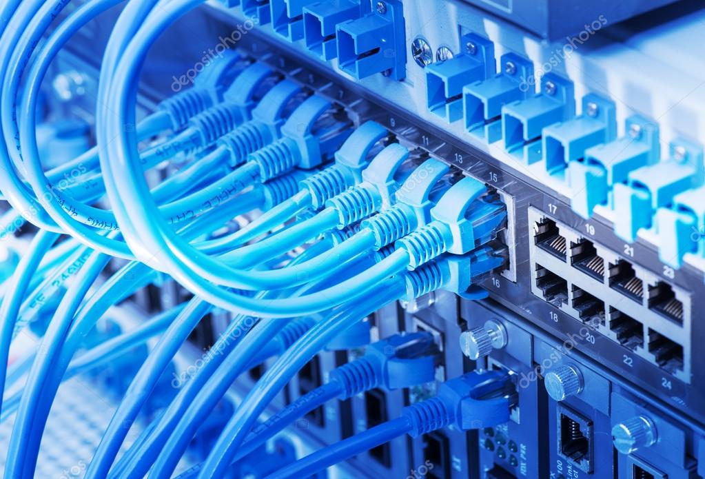Network switch and ethernet cables,Data Center Concept — Stock Photo ...