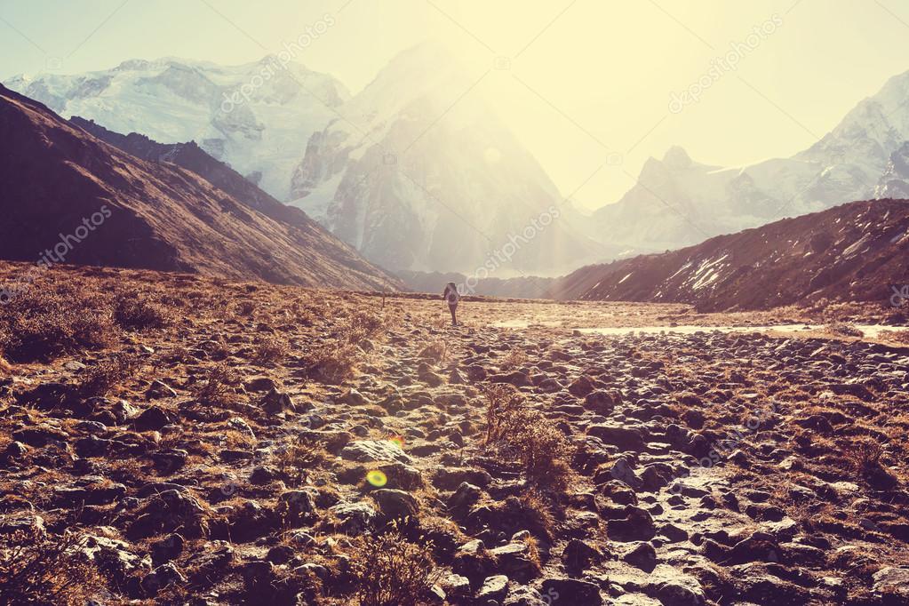Hiker in Himalayas mountains