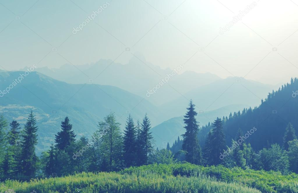 landscape of Caucasus mountains