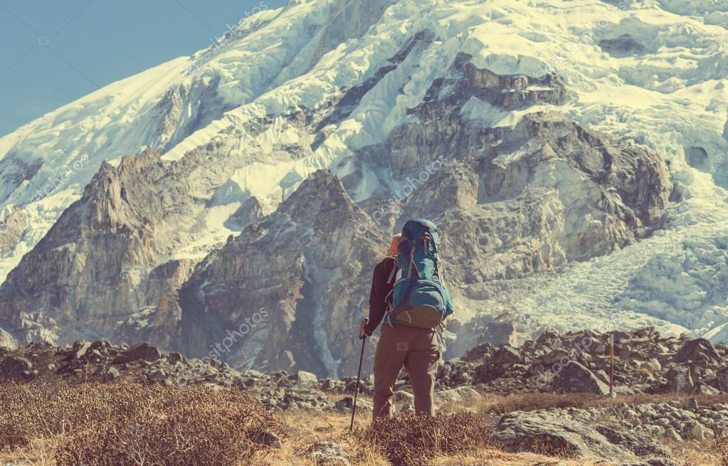 Hiker in Himalayas mountains