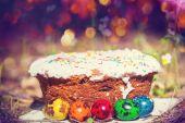 Fényképek húsvéti kenyér és a tojás