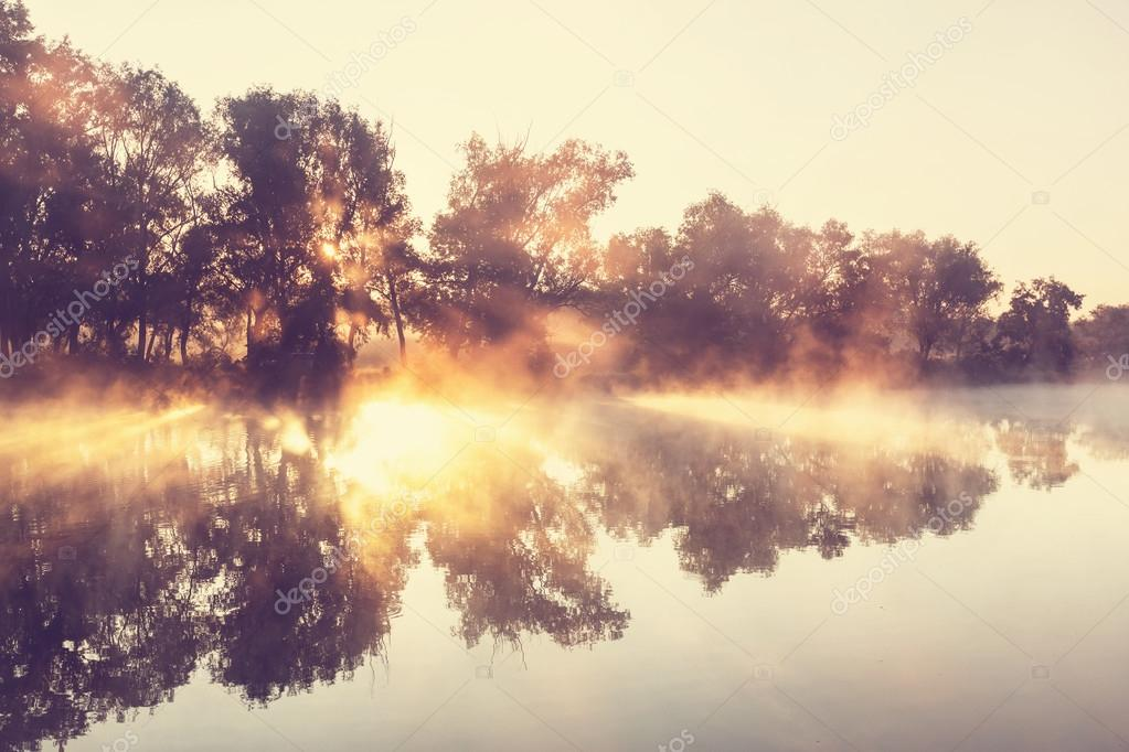 river fog over water