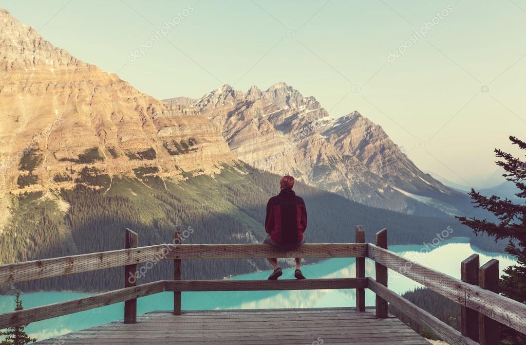 man looking at Peyto Lake