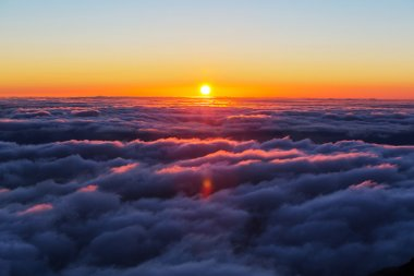 sunset on the above clouds