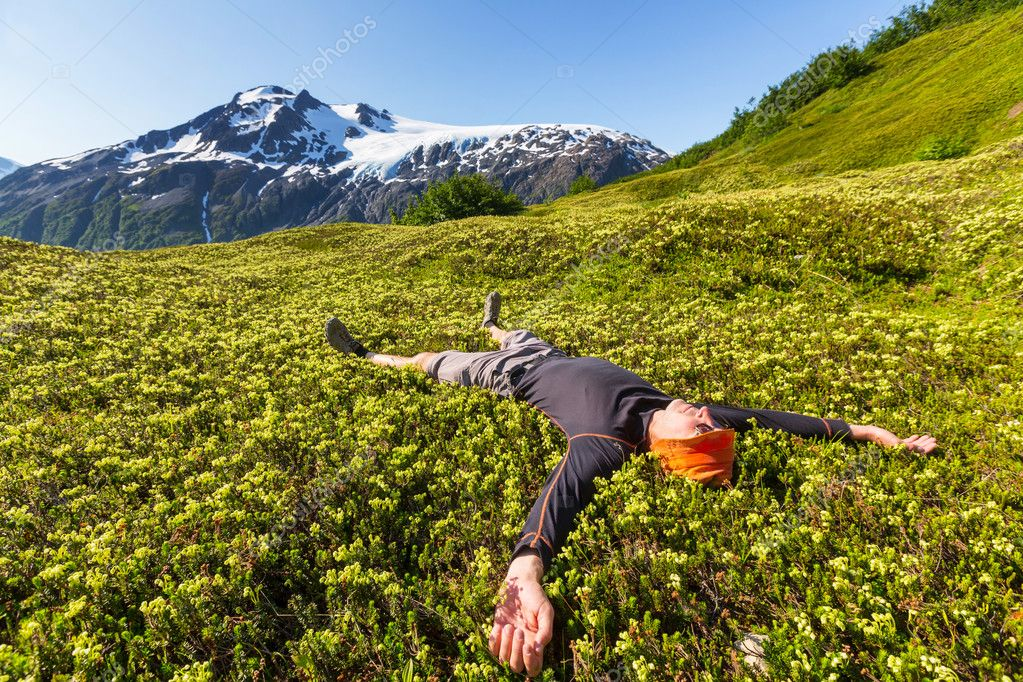 hiker Relaxing in mountains