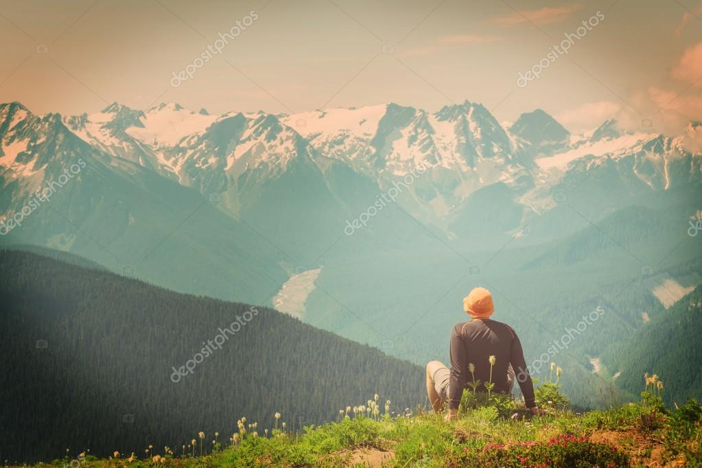 male backpacker in the mountains