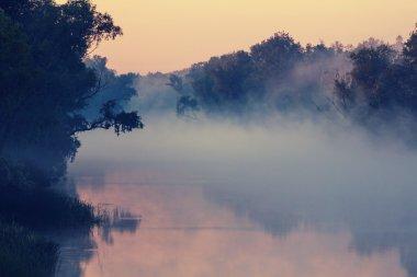 Unusual river fog in summer season stock vector