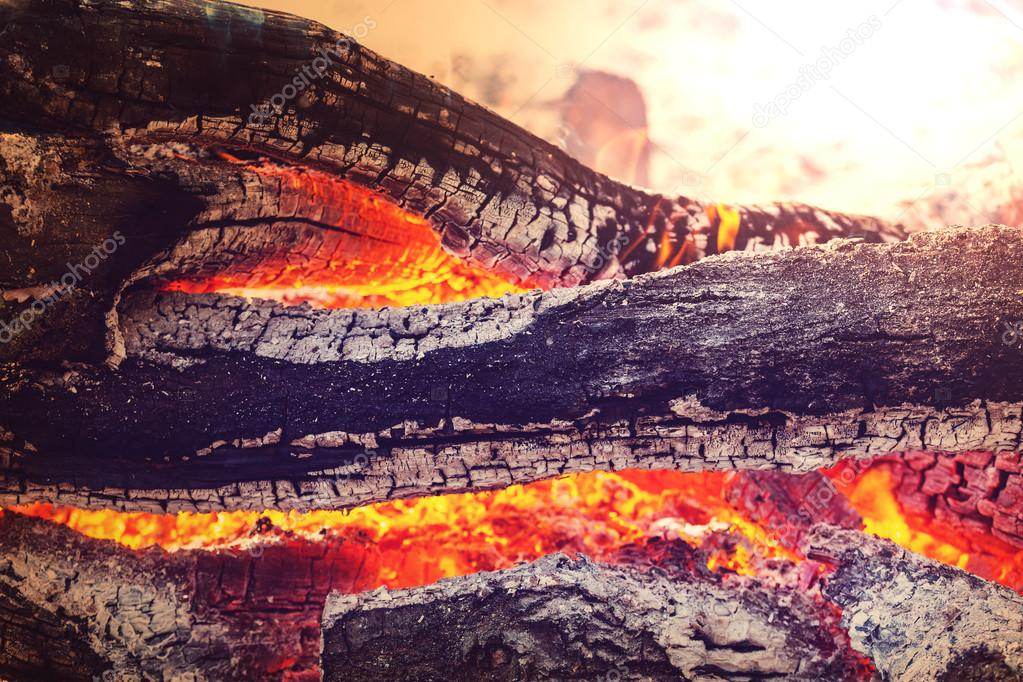 Close-up of campfire in evening