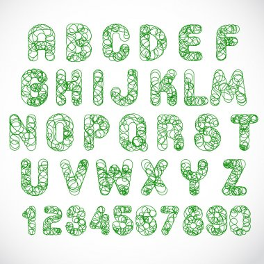 English alphabet and numbers of circles  -  Stock Illustration