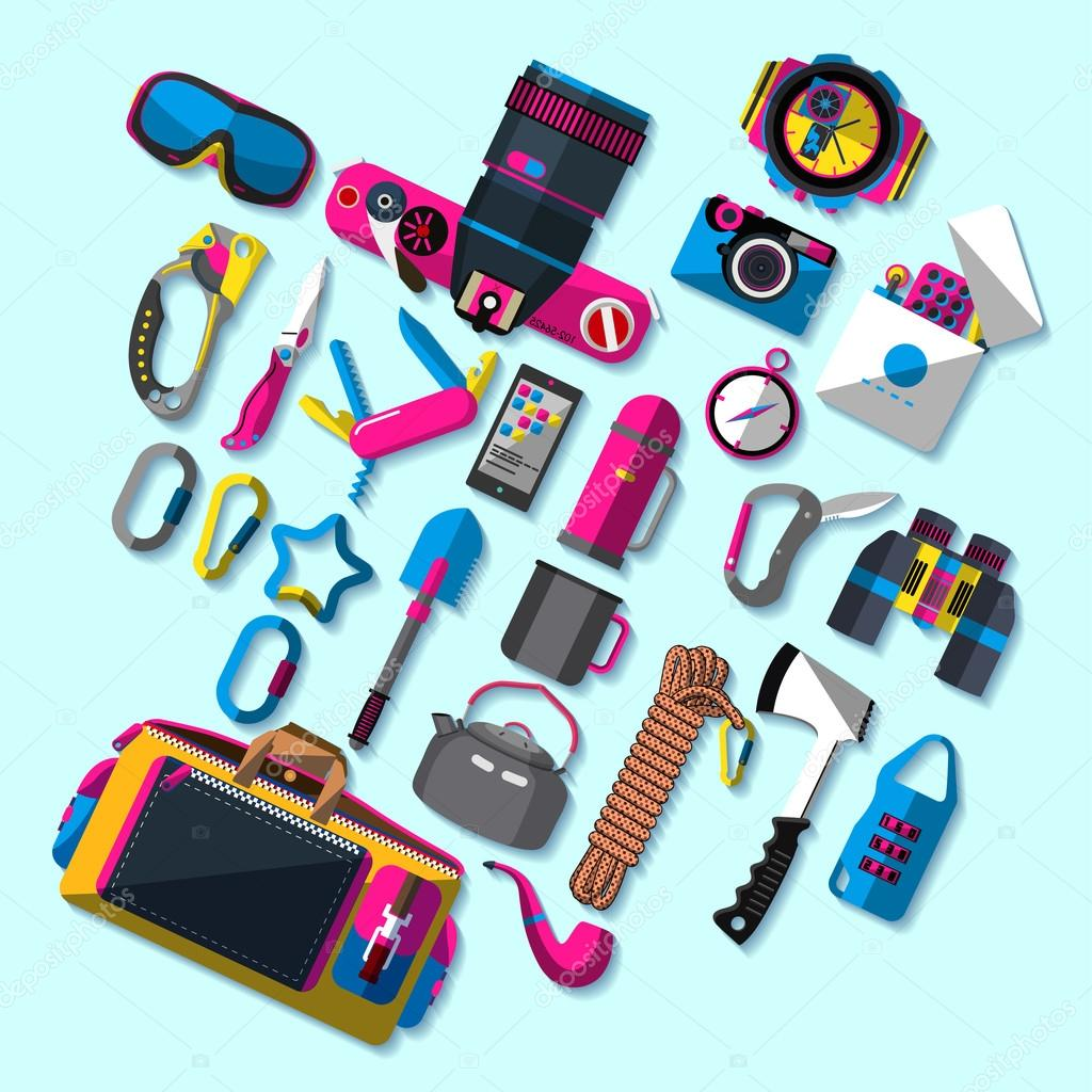 Climbing camping tool icon - vector stereo Icon