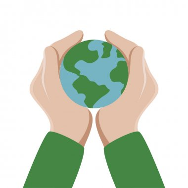 Human hands with Earth isolated on white background for The Earth Day cards. Vector illustration icon