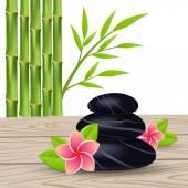 Fotografie květina a bambus izolovaných na bílém pozadí