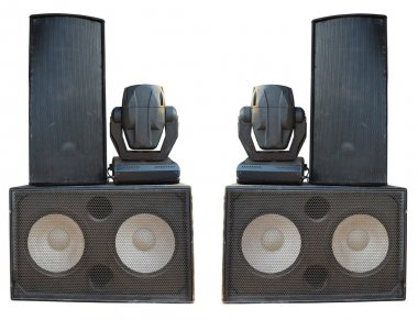 Powerful stage concerto audio speakers and spotlight projectors