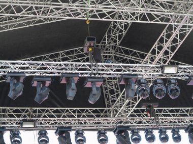 Structures of stage illumination spotlights equipment and speake