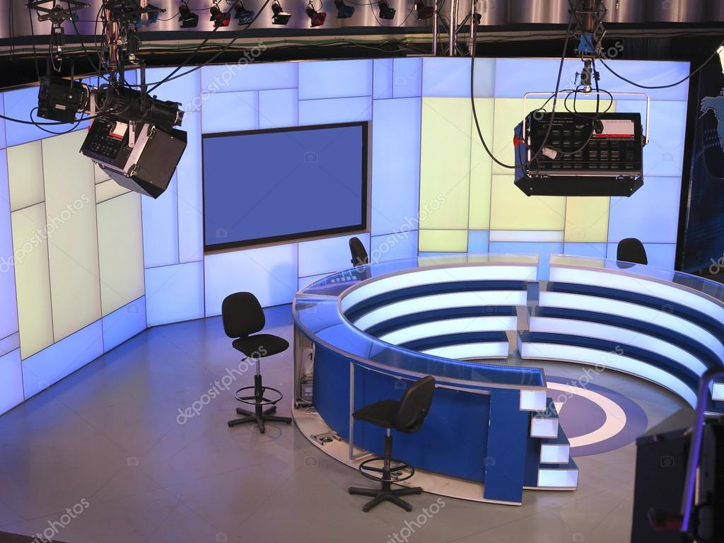 TV NEWS studio with light equipment ready for recording Stock