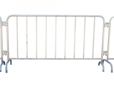 Portable metallic fence isolated over white