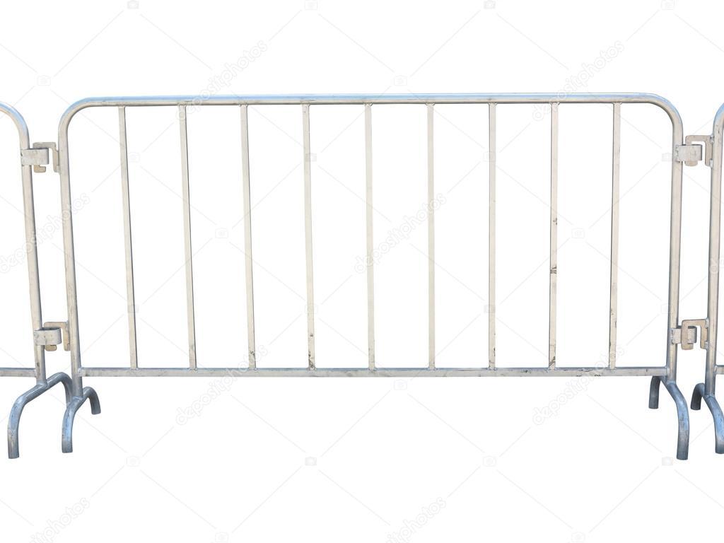 Tragbare Metall Zaun Isoliert Weiss Stockfoto C Arogant 81030060