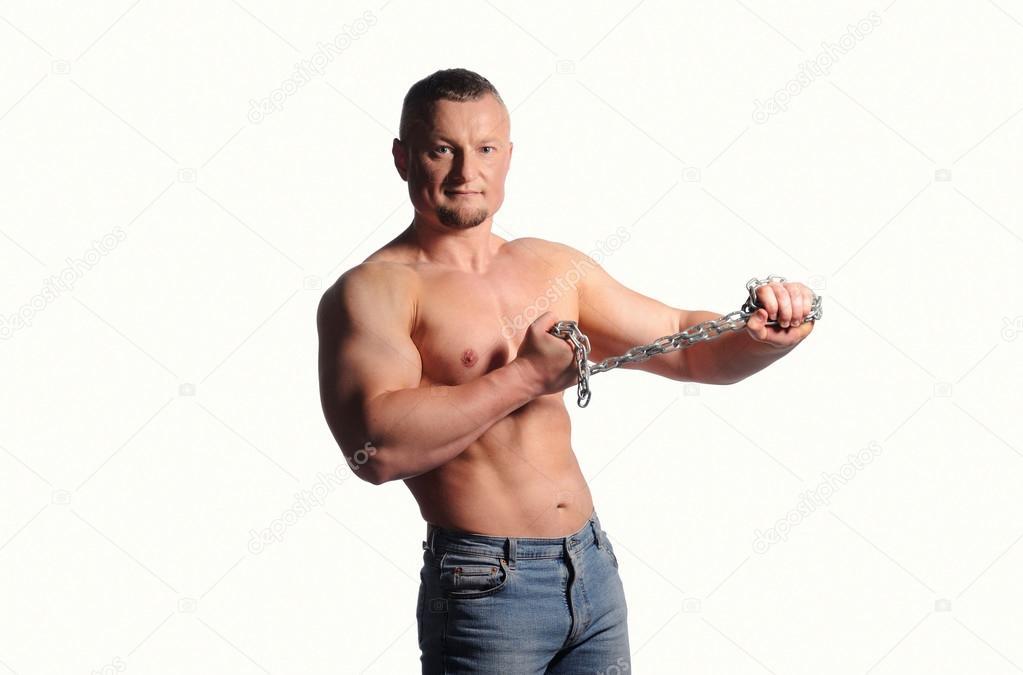 muskulöse männliche Körper isoliert auf weißem Hintergrund ...