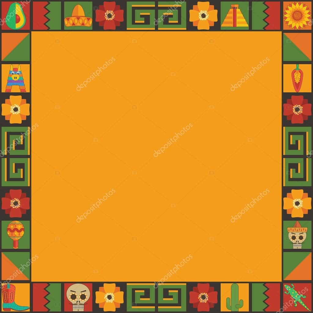 mexican frame ornament stock vector 115473912 - Mexican Frame