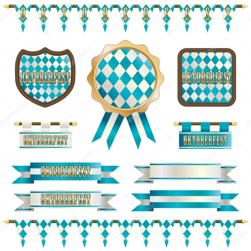 oktoberfest decorations with bunting ribbons and embelms isolated on white vector by mattasbestos - Oktoberfest Decorations