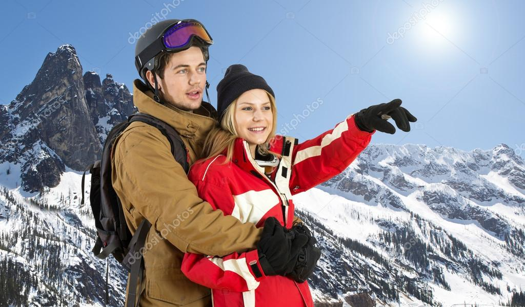 Couple in front of mountain