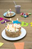 Birthday Cake On Wooden Table