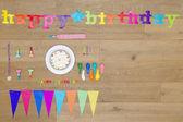 Fényképek Születésnapi dekoráció fából készült asztal