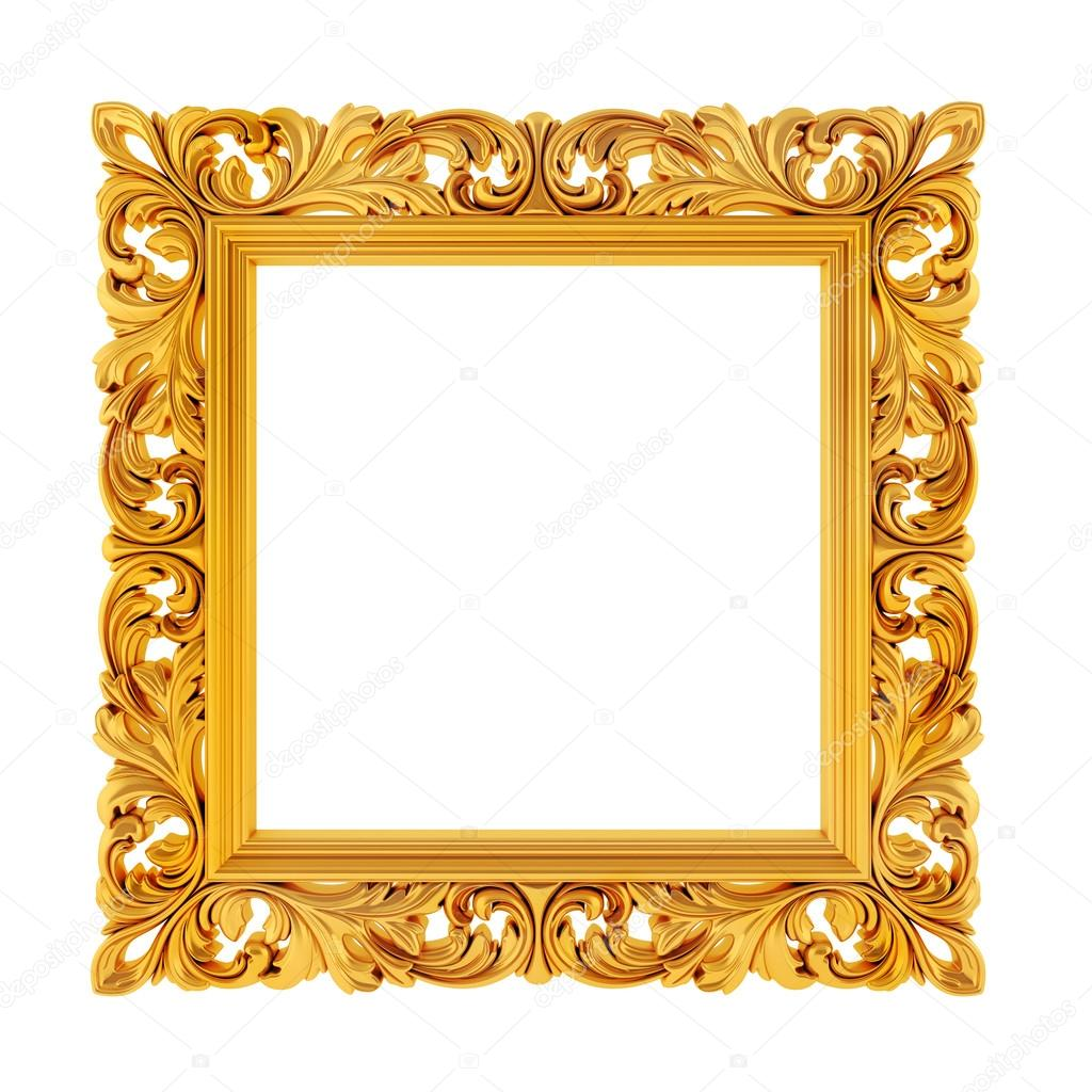 3d gold frame on white background — Stock Photo © digitalgenetics ...