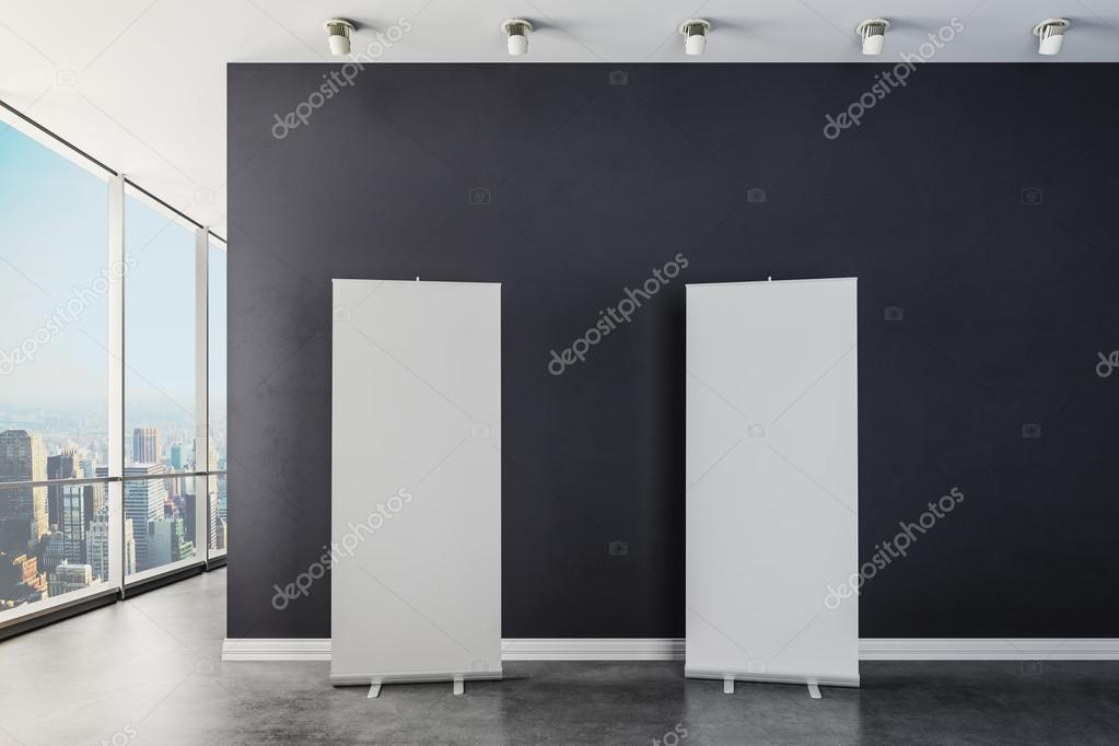 D modernes interieur mit leeren leinwand poster u stockfoto