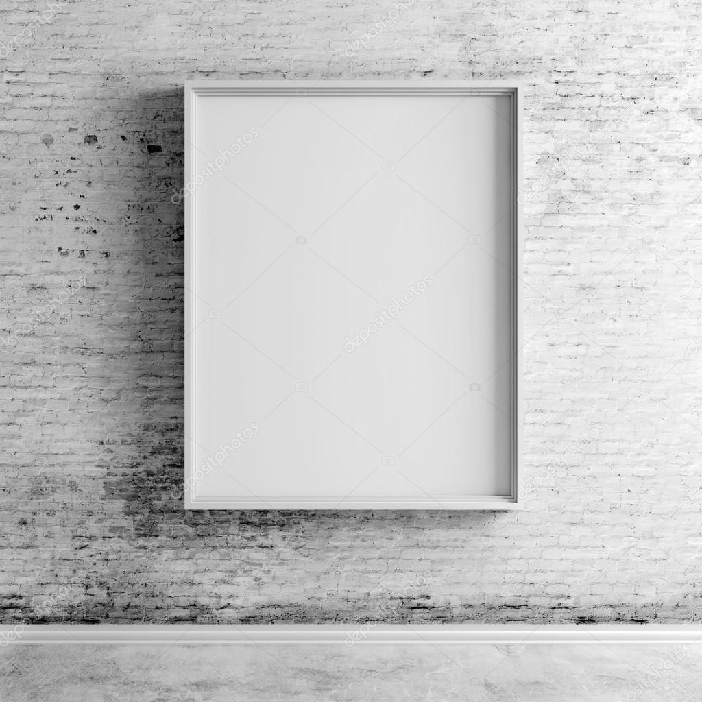 3d blank frames on white vintage brick wall photo by digitalgenetics - White Vintage Picture Frames