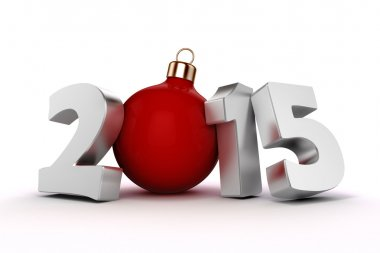 3d happy new year 2015, text on white background